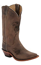 Nocona® Ladies University of Kansas Distressed Brown Branded Snip Toe Boots