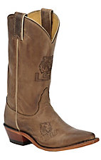 Nocona Ladies Distressed Tan Brown Branded LSU Snip Toe Western Boots