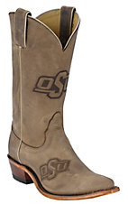 Nocona Ladies Oklahoma State OSU Distressed Brown Branded Square Toe Boots