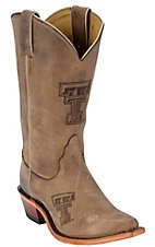 Nocona® Ladies Texas Tech TTU Distressed Brown Branded Square Toe Boots