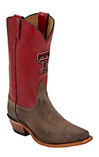Nocona® Women's Texas Tech University Vintage Brown w/ Logo on Red Top Single Welt Square Toe Western Boots