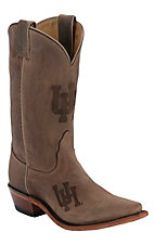 Nocona® Ladies University of Houston Distressed Brown Branded Snip Toe Boots