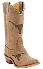 Nocona Ladies Univeristy of Texas Longhorn Distressed Brown Branded Snip Toe Boots