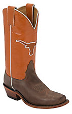 Nocona Women's University of Texas Vintage Brown w/ Logo on Burnt Orange Top Single Welt Square Toe Western Boots