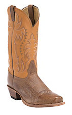 Nocona Men's Brown Delta with Honey Cowhide Top Single Welt Punchy Square Toe Western Boots
