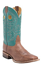 Nocona Men's Cafe Delta w/ Teal Top Double Welt Square Toe Western Boots