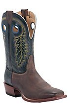 Nocona® Men's Cognac Brown w/ Black Vintage Cow Double Welt Square Toe Western Boots