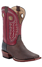 Nocona® Men's Dark Brown Buffalo w/ Red Top Double Welt Square Toe Western Boots