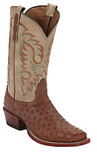 Nocona® Men's Cognac Waxy Full Quill Ostrich Exotic Square Toe Western Boots