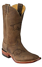 Nocona Men's Arkansas Distressed Brown Branded Square Toe Boots