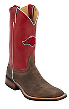 Nocona Men's University of Arkansas Vintage Brown w/ Logo on Red Top Double Welt Square Toe Western Boots