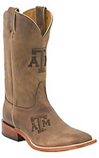 Nocona® Men's Texas A&M Distressed Brown Branded Square Toe Boots