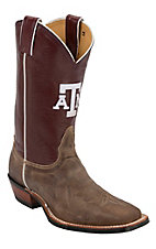 Nocona Men's Texas A&M University Vintage Brown w/ Logo on Maroon Top Double Welt Square Toe Western Boots