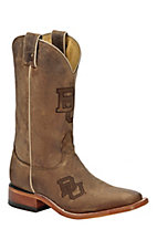 Nocona Men's Distressed Tan Brown Branded Baylor Square Toe Western Boots