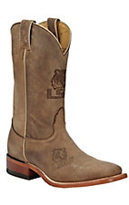 Nocona Men's Distressed Tan Brown Branded LSU Square Toe Western Boots