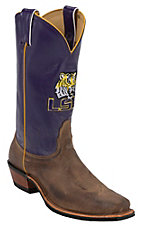 Nocona Men's Louisiana State University Vintage Brown w/ Logo on Purple Top Single Welt Square Toe Western Boots