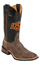 Nocona Men's Oklahoma State University Vintage Brown w/ Logo on Black Top Double Welt Square Toe Western Boots