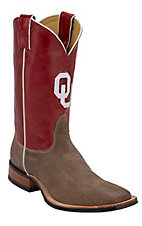 Nocona Men's University of Oklahoma Vintage Brown w/ Logo on Crimson Red Top Double Welt Square Toe Western Boots