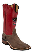 Nocona Men's Texas Tech University Vintage Brown w/ Logo on Red Top Double Welt Square Toe Western Boots