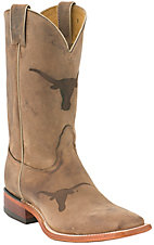Nocona Mens Univeristy of Texas Longhorn Distressed Brown Branded Square Toe Boot