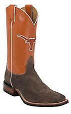 Nocona Men's University of Texas Vintage Brown w/ Logo on Burnt Orange Top Double Welt Square Toe Western Boots