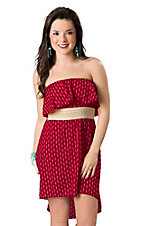 Ocean Drive® Women's Red with White Anchors and Tan Waistband Strapless Hi-Lo Dress