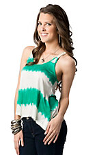 Ocean Drive® Women's Green and White Stripe with Braided Rope Racer Back Tank Fashion Top