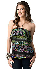 Ocean Drive® Women's Black with Multi Tribal with Ruffle Top Strapless Fashion Top