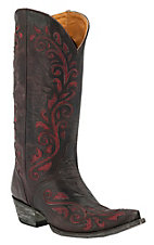 Old Gringo® Ladies Estere Distressed Chocolate w/ Red Floral Inlay Pointed Toe Western Boots