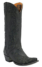 Old Gringo® Ladies Estere Distressed Black w/ Floral Inlay Pointed Toe Western Boots