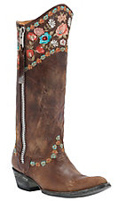 Old Gringo® Ladies Gayla Razz Brown w/ Floral Embroidery Pointed Toe Western Boots