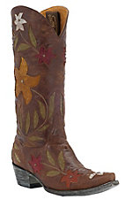 Old Gringo® Ladies Ginger Distressed Brown w/ Multi Floral Inlay Snip Toe Western Boots