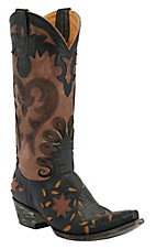 Old Gringo® Ladies Letty Black w/ Brown Top Floral Inlay & Embroidery Snip Toe Western Boots