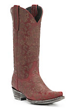 Old Gringo Women's Red Nadia Lazer Cut Floral Pattern Snip Toe Western Boots