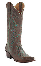 Old Gringo Celeste Women's Rust w/Turquoise Embroidery Snip Toe Western Boots