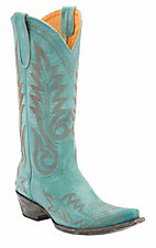 Old Gringo� Women's Nevada Destroyed Turquoise Fancy Stitched Snip Toe Western Boots