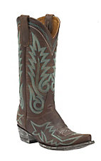 Old Gringo Women's Brass with Turquoise Fancy Stitch Snip Toe Western Boots