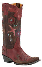 Old Gringo® Ladies Golondita Red/Brown w/ Birds & Flowers Pointed Toe Western Boots