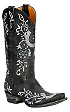 Old Gringo® Ladies Black w/ Silver Embroidered Lucky Horseshoe Snip Toe Boot