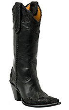 Old Gringo® Ladies Julian Black w/ Tooled Wingtip Pointed Toe Western Boots