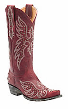 Old Gringo� Ladies Red Distressed w/Fancy Silver Stitched Snip Toe Western Boots
