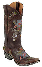 Old Gringo� Ladies Chocolate Bonnie Volcano Goat w/Embroidered Flowers Western Boot