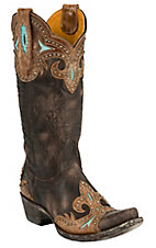 Old Gringo® Ladies Taka Distressed Dark Brown w/Turquoise & Studs Snip Toe Boots