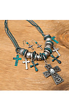 Wear. N.E. Wear Jewelry® Silver and Turquoise Cross Charm Jewelry Set