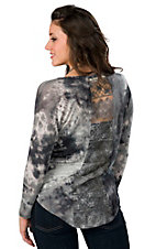 Vintage Havana® Women's Grey Tie Dye w/ Lace Back Long Sleeve Tee
