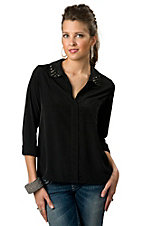 Vintage Havana® Women's Black with Spiked Collar Long Sleeve Fashion Top