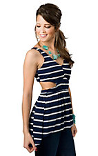 Vintage Havana® Women's Navy Blue with White Stripes Cutout Open Back Sleeveless Fashion Top