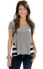 Vintage Havana® Women's Grey with White, Navy and Neon Orange Striped Back Short Sleeve Fashion Top