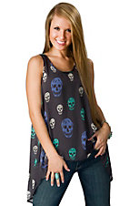 Vintage Havana® Women's Charcoal with Happy Skulls Hi-Lo Open Back Sheer Sleeveless Fashion Top