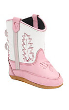 Old West® Poppet™ Pink w/White Top Western Infant Booties